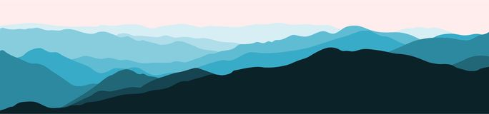 Mountain Panorama Vector. Panorama vector illustration of mountain ridges (based on the Smokey Mountains Stock Photo
