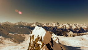 Mountain panorama view aerial view fly over winter snow landscape stock footage