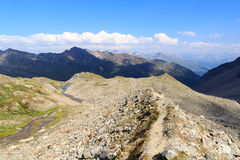 Mountain panorama view with footpath, Hohe Tauern Alps, Austria Royalty Free Stock Photography