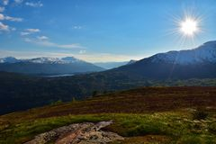 Mountain panorama. View to the mountains and lake Royalty Free Stock Photo