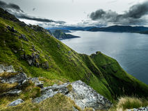 Mountain Panorama. View from the top of `Runde-Island` in Norway Royalty Free Stock Photos
