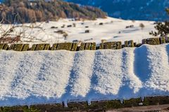 Mountain panorama with village. Snowy mountain panorama with village in Italy Stock Images
