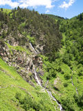 Mountain panorama with a waterfall Royalty Free Stock Photos