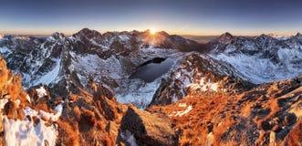 Mountain panorama at winter fall in Slovakia Tatras Stock Photos