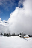 Mountain panorama, winter scene Royalty Free Stock Photos