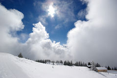 Mountain panorama, winter scene. Image of mountain panorama made after powder day. Austria, Mayrhofen Stock Photography