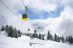 Mountain panorama, winter scene. Image of mountain panorama made after powder day. Austria, Mayrhofen stock photo