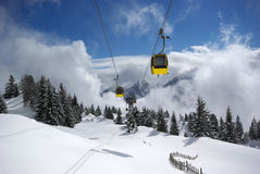 Mountain panorama, winter scene. Image of mountain panorama made after powder day. Austria, Mayrhofen stock images