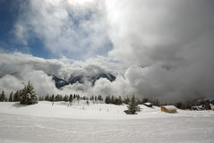 Mountain panorama, winter scene. Image of mountain panorama made after powder day. Austria, Mayrhofen royalty free stock photography