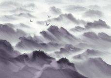 Mountain panoramic landscape watercolor background. Hand painted grey sketch. View from the plane stock photography