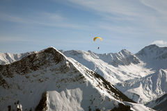 Mountain paragliding Stock Photo