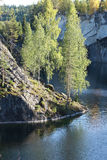 Mountain Park, marble cliff, lake Stock Photography