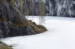 Mountain Park Ruskeala. Marble quarries in Karelia in the early spring Royalty Free Stock Photo