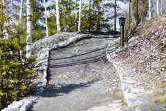 Mountain Park Ruskeala. Marble quarries in Karelia in the early spring Royalty Free Stock Photos