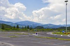 Mountain parking in Austria Stock Photo
