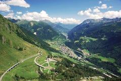 Mountain pass. Over Gotthard mountain with view onto Airolo in Ticino, Switzerland Stock Photos