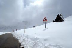 Mountain pass. Mountain road pass through the Italian Dolomites in winter Stock Images