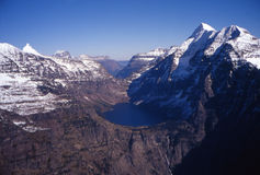 Mountain Pass. Aerial view of mountain pass in Glacier National Park Royalty Free Stock Image