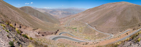 Mountain pass Andes Mountain Range, Argentina. Mountain pass on the road from Humahuaca to Grande Salinas, Andes, Argentina Royalty Free Stock Photo