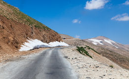 Mountain pass from Beqaa (Bekaa) Valley to Qadisha in Lebanon Royalty Free Stock Image