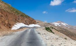 Mountain pass from Beqaa (Bekaa) Valley to Qadisha in Lebanon royalty free stock image