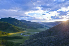 Mountain pass Chike-Taman in Altai. Sunset on the mountain pass Chike-Taman in Altai region, Siberia, Russia Royalty Free Stock Photography