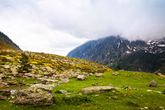 Mountain pass in cloudy day Stock Photo