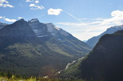 Mountain Pass  in Glacier National Park. Scenic view of a mountain pass in Glacier National Park Stock Image