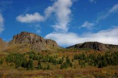 Mountain pass between mesas. Royalty Free Stock Images