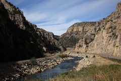 Mountain Pass and River - Wyoming Royalty Free Stock Image