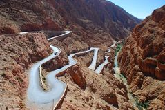 Mountain pass road in Dadès Gorges. Morocco. Dadès Gorges, (French: Gorges du Dadès), is a gorge of the Dadès River and lies between the Atlas Mountains and Stock Photos