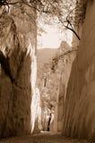 Mountain passage. A mountain passage on sepia tone royalty free stock photography