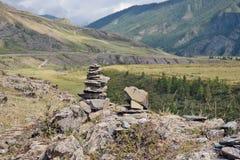 Mountain pastures and rocks, Altai mountains, Siberia Russia Stock Photography