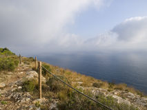Mountain Path. Near a cliff over the sea Royalty Free Stock Photography