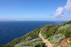 Mountain path. Beautiful mountain path in a beautiful landscape in Cape Point, South Africa stock photo