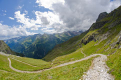 Mountain path. Follow the path down the mountain Royalty Free Stock Photography