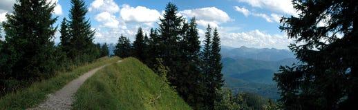 Mountain Path. Ridge top walking path high in the Alps Stock Image
