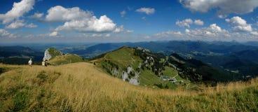 Mountain Path. Ridge top walking path high in the Alps Stock Photo