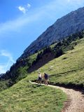 Mountain path. Two hikers following a mountain path royalty free stock photography