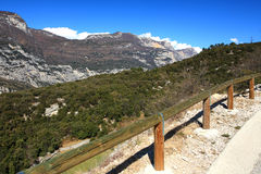 Mountain path. Fenced mountain path against blue sky Stock Photography
