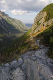 Mountain path. And beautiful valley royalty free stock photos