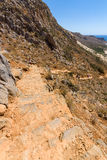The mountain path for the descent from the top plateau to Balos beach Royalty Free Stock Images