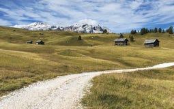 Mountain path, Dolomites. Mountain path through the meadows of Val Badia, Italy royalty free stock photos
