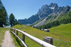 Mountain path and fence Royalty Free Stock Image