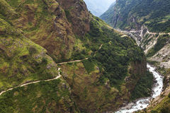 Mountain path in Himalaya mountains, Nepal. Stock Images