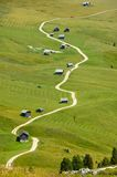 Mountain path between the huts. Part of the trail around Peitlerkofel, Dolomites - Italy royalty free stock image