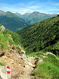 Mountain Path View. Hiking Trail. Italian Alps. Stock Photos