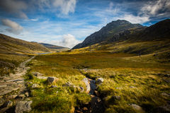 Mountain path leading to lake at Cwm Idwal, Llyn Idwal, Ogwen Valley, Snowdon, wales Royalty Free Stock Photos
