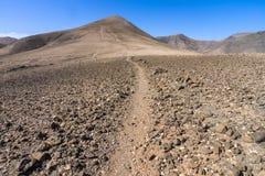 Mountain path on Pico Redondo on Lanzarote Stock Photos