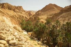 Mountain path in Sahara desert Tunisia Royalty Free Stock Images